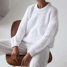 Женский Однотонный свитер пуловер с круглым вырезом городской