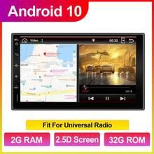 Auto Android 10 Quad Core 2GB + 32GB GPS Navigation Für Nissan Für Hyundai Universal 2 Din Auto radio SWC Wifi Spiegel Link TUPFEN