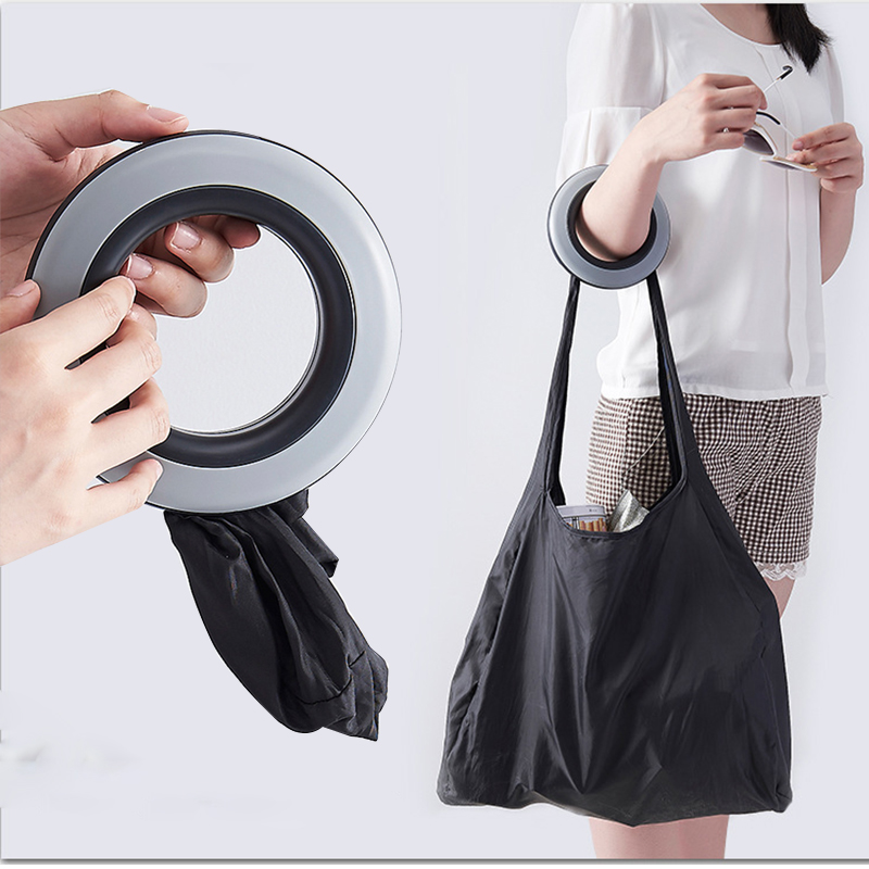 Disc Fashion Creative Foldable Round Shopping Bag Eco friendly Storage Reusable Bag Large Capacity Handle Portable Shopping Bag|Bags & Baskets| |  - title=