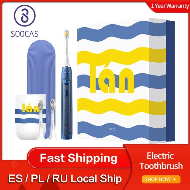 Soocas X5 spazzolino elettrico sonico USB ricaricabile aggiornato adulto IPX7 spazzolino da denti Ultra sonico 12 modalità pulite con testine