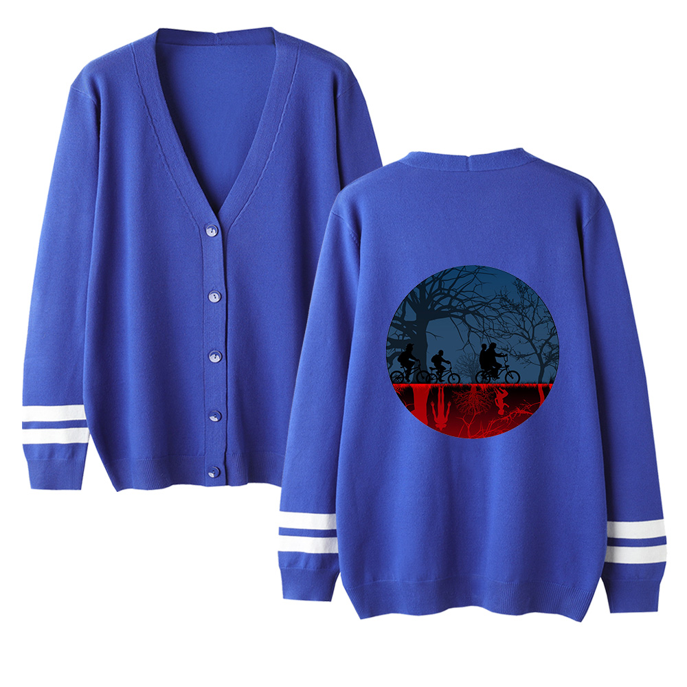 Stranger Things Sweater V-neck Long Sleeve Sweater Knitting Cardigan Classic Female Sweater Men Women Autumn Cardigan Sweater