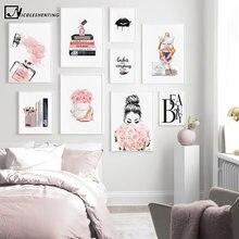 Cuadro sobre lienzo para pared con estampado de labios negros, impresión sencilla de libros con Perfume, imagen moderna para salón de belleza