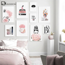 Fashion Wall Art Canvas Painting Lashes Black Lips Poster Print Simplicity Perfume Books Picture Modern Salon Beauty Decoration