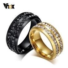 Vnox 8mm noir double rangée cristal anneaux de mariage pour femmes hommes en acier inoxydable Bling anneaux amant promesse bandes