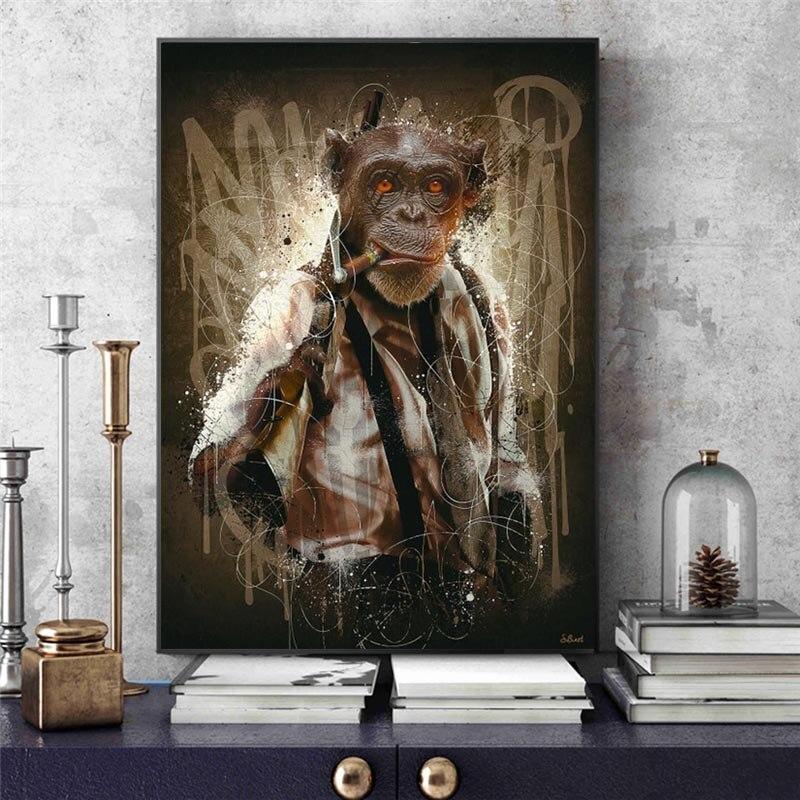 Arte de la pared Decoración moderno con diseño de Mono para sala de estar, pintura en lienzo, pósteres artísticos de pared
