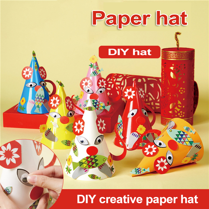 New Paper Hat Crafts Stickers Drawing Toys Children's Toys Kindergarten Diy Learning Education Crafts Kids Toys For Girls Toys 1