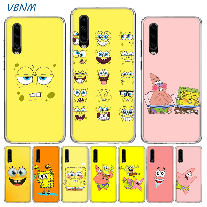 Cute Cartoon Spongebob Luxury TPU Silicone Case For Huawei P30 P20 Mate 20 10 Pro P10 lite P Smart  Z Plus + 2019 2018 Cover