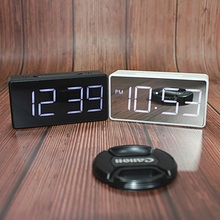 Mirror Alarm Clock LED Digital Display Electronic Time Temperature Calendar Table Alarm Clock USB Charging Student Desk Clocks digital desk led calendar alarm clock with temperature display blue light ac 4 aa powered