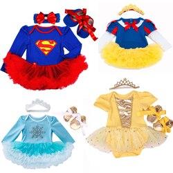 Bebê roupas da menina superman traje para bebê infantil festa de aniversário vestido tutus recém-nascido macacão bebe macacão menina roupas