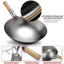 Традиционный ручной работы Железный вок утолщение без покрытия с круглым дном сковорода вок Кук большой кухонный горшок деревянная ручка Крышка