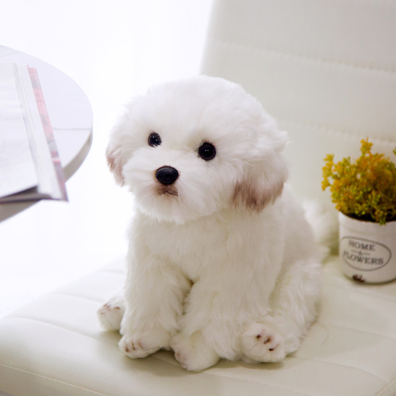 26cm Simulated Maltese Dog Simulation Pet Stuffed Dog Plush Toy Simulation Pet Fluffy Baby Doll Plush toy Birthday Children Gift