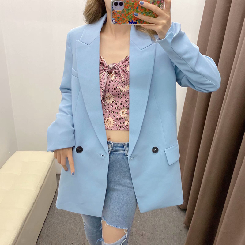 2020 Spring Autumn Blue Elegant Office Lady Blazer Women Solid Pockets Suit Jacket Coat Female Tops Casual Loose Blazers Mujer