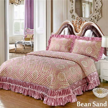 Quilted winter bedspread European-style quilted luxury jacquard bed coverlets padde bed cover 3pcs set 1.5m/1.8m free shipping фото