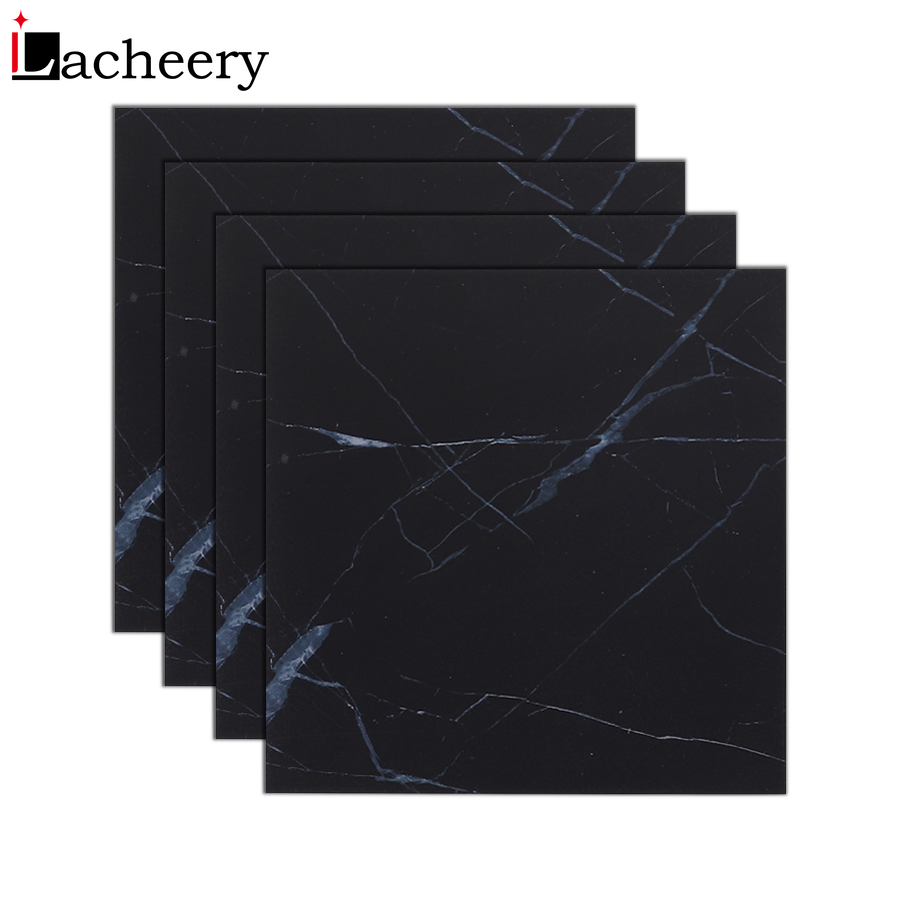 Black Marble Tile Wall Decal Vinyl Waterproof Self Adhesive Wallpaper Floor Stickers Renovation Living Room Bathroom Home Decor