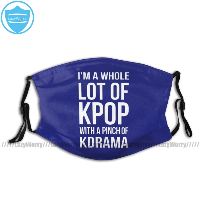 Kpop Lot Mouth Face Mask A LOT OF KPOP BLUE Facial Mask with Filters Cool for Adult Polyester Mask