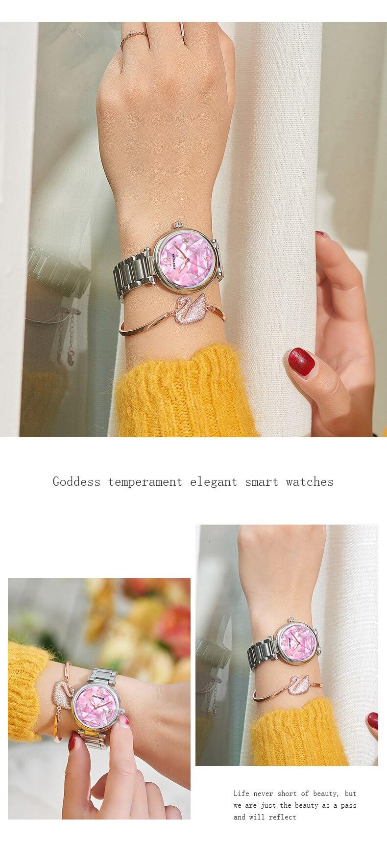 relógio rosa ouro azul dial relógio mecânico