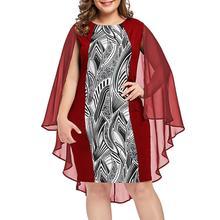 Plus Size 5XL  Summer Women Chiffon Printed O-Neck Overlay Sleeveless Dress Fashion Elegant Sexy Party Night Sundress