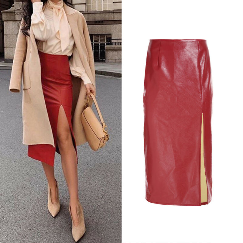 2020 Newest Hot Women PU Leather Skirts Office Lady High Waist Red Slim Bodycon Pencil Long Midi Skirt Female Sexy Split Skirts