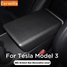 Carmilla ABS המכונית תיבת משענת כיסוי עבור טסלה Model3 ModelY דגם 3 דגם Y 2017 2018 2019 2020 2021 אביזרים