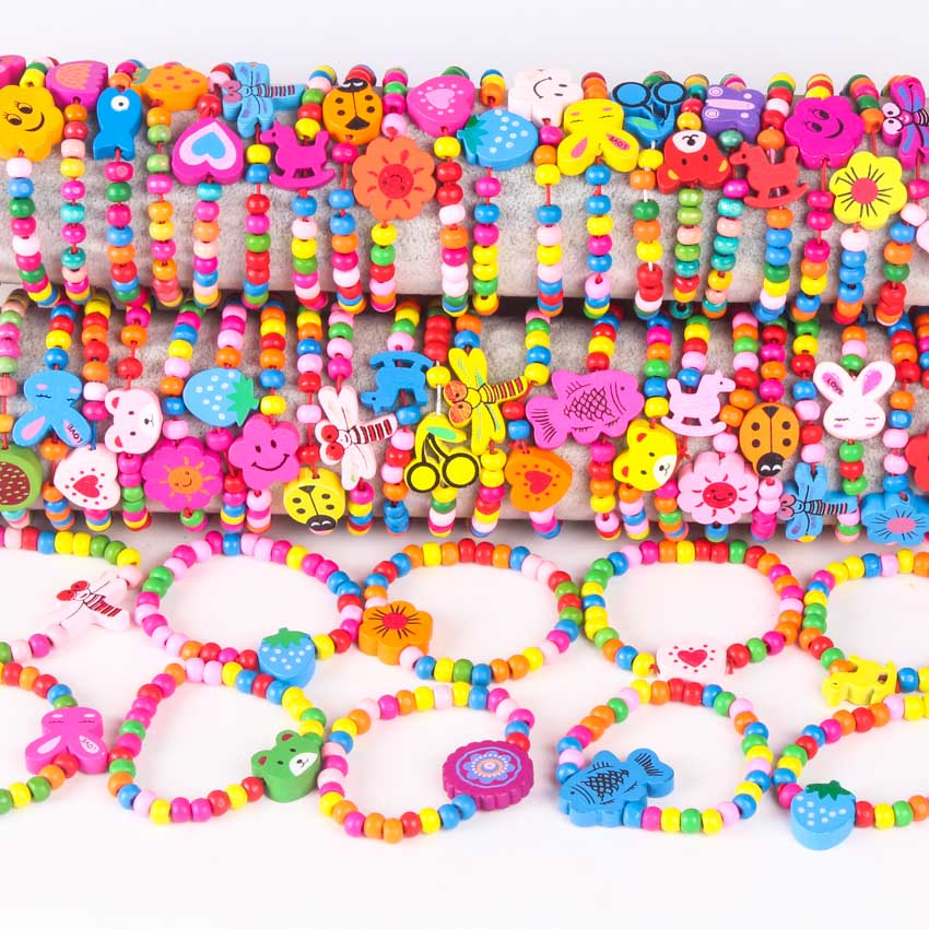 10Pcs Colorful wood beads Mixed lots Wooden Bracelets Wood Kid Girl Boy children Toy Gifts Child Party Bag fillers