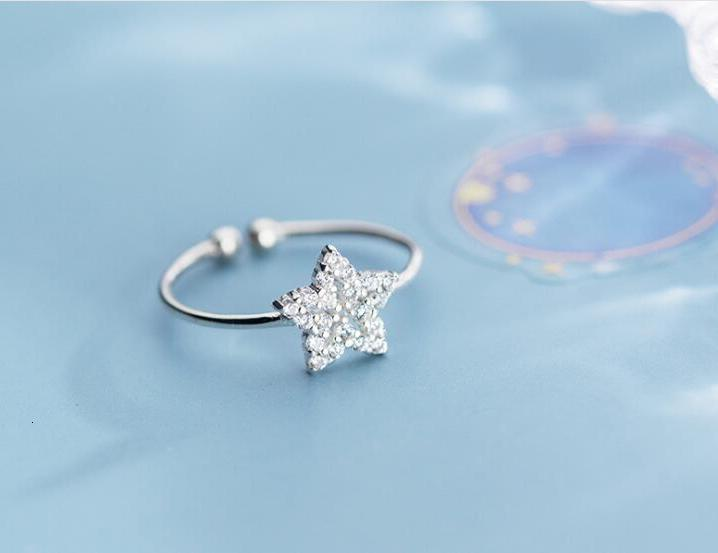 VERY tHIN Size3.75-4 REAL.925 Sterling Silver fINE MIDI Toe Knuckle crystals star Ring adjust GTLJ1683
