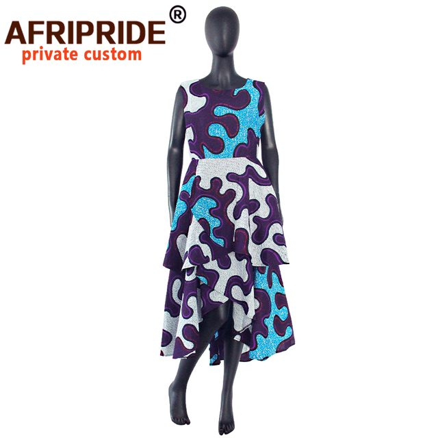 hot sale african dress for women AFRIPRIDE private custom sleeveless pleated party dress 100% pure wax cotton A722582