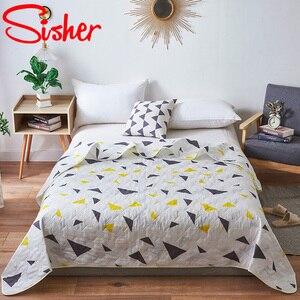 Zomer Gewassen Quilt Polyester Airconditioning Dekbed Zachte Ademend Koele Deken Dunne Geometrische Print Sprei Bed Cover(China)