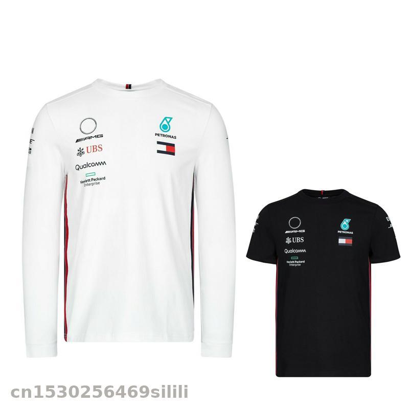 2020 For AMG F1 Team MENS  T-shirt Motorbike Motocross MX Dirt Bike Cycling Long Sleeve Tee Top WHITE