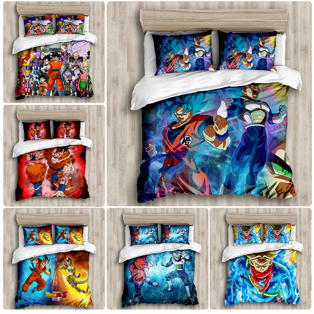 DRAGON BALL Z 3D Bed Linen Son Goku Vegeta Duvet Covers Pillowcases Bed Set Comforter Bedding Sets Bedclothes Bed Linens