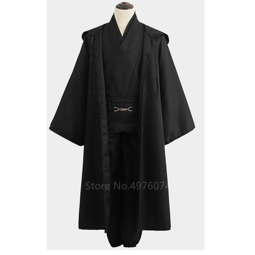 Adulto homem star wars 4 pçs halloween cosplay traje anakin skywalker jedi cavaleiro robe carnaval anime disfarce festa conjunto de roupas