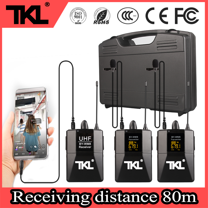TKL WM-8 professional dual channel wireless lavalier microphone UHF lapel microphone for SLR cameras and camcorders