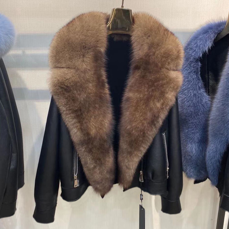 H7bd46c763493409b9f4490e436071605K Winter Real Fur Coats Natural Women High Quality Genuine Leather Jacket With Big Fox Fur Turn-down Collar Luxury Overcoats 2021