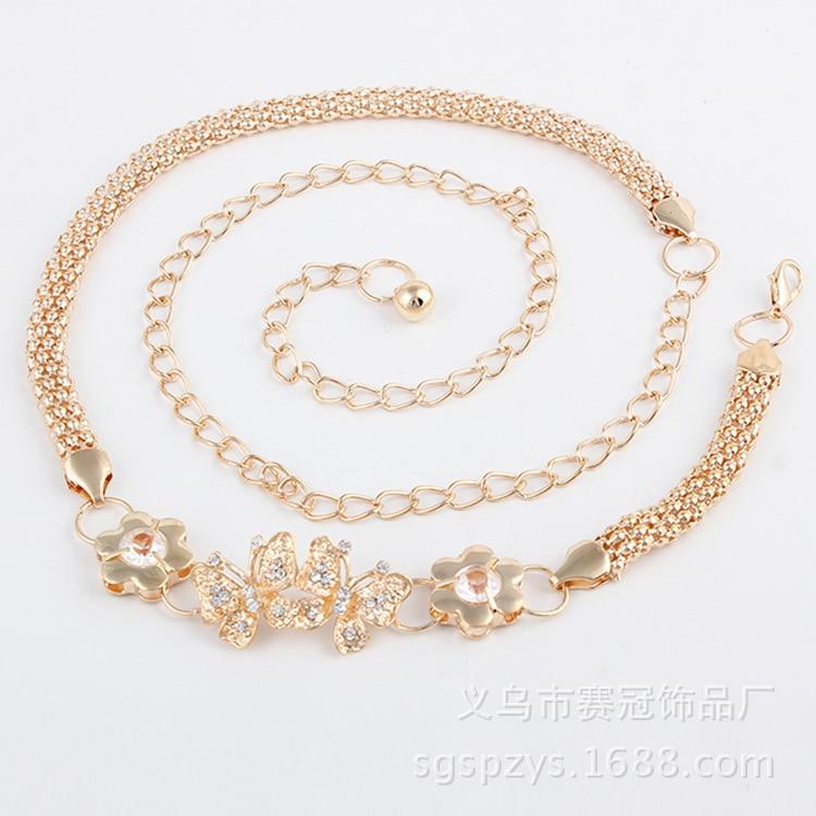 Women's Butterfly Belt Accessories Metal Dress Chain Belt Customizable Fly Together Man-made Diamond Flower Waist Wholesale