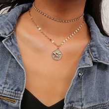 Multi-layer Chokers Necklace Full Drill Exaggerated Vintage Fashion Sequin Embossed simple Geometric Chain Necklaces