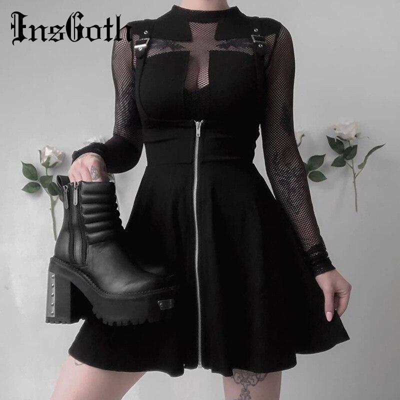 InsGoth Women Mini Pleated Skirts Gothic Punk Black High Waist Slim Skirt Streetwear Fashion Female Suspender Skirts Overalls