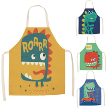 Aprons Unisex Kitchen Pinafore Cooking Bib Dinosaurs-Print Funny Cleaning Dinner Cartoon