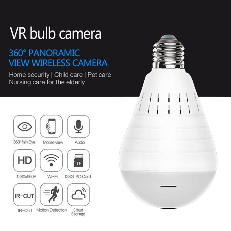HD Panorama VR Wireless Wifi Camera 360° Panoramic Fisheye Hidden Cam Bulb Light Home Security Security WiFi Fisheye Bulb Lamp