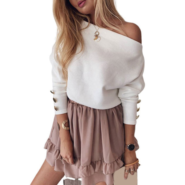 Spring Off Shoulder T-Shirt Tees , Shirts & Tops Women color: Pink Tawny White