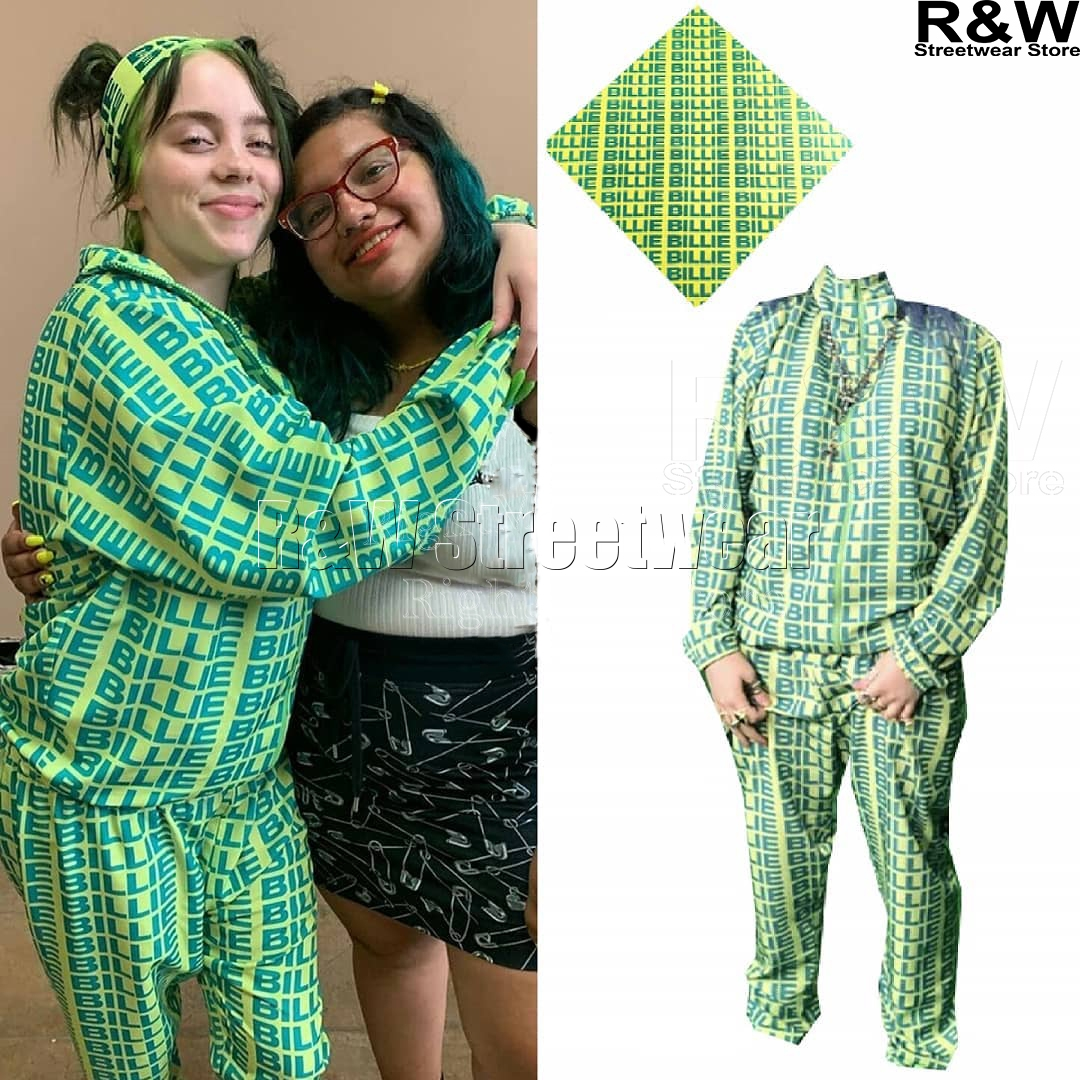 Billie Eilish Green Hoodie Pants Streetwear Bad Guy New Letter Same Paragraph