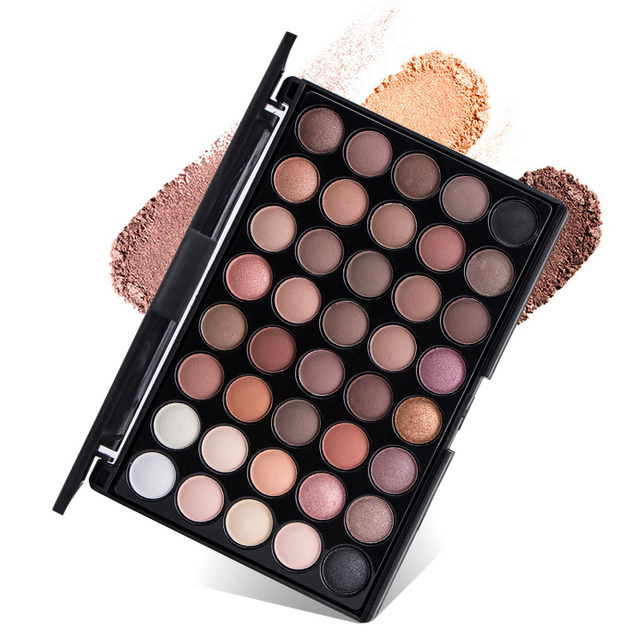 40 Colors Eye Makeup Nude Matte Shimmer Eyeshadow Palette Glitter Powder Smoky Eyeshadow Earth Ombre Brush Set Pigment Girl Gift 4