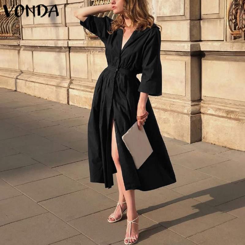 Women Elegant Party Long Dress Cotton Lapel Button Down Shirt Dress VONDA 2020 Summer Casual Loose Vestidos Plus Size