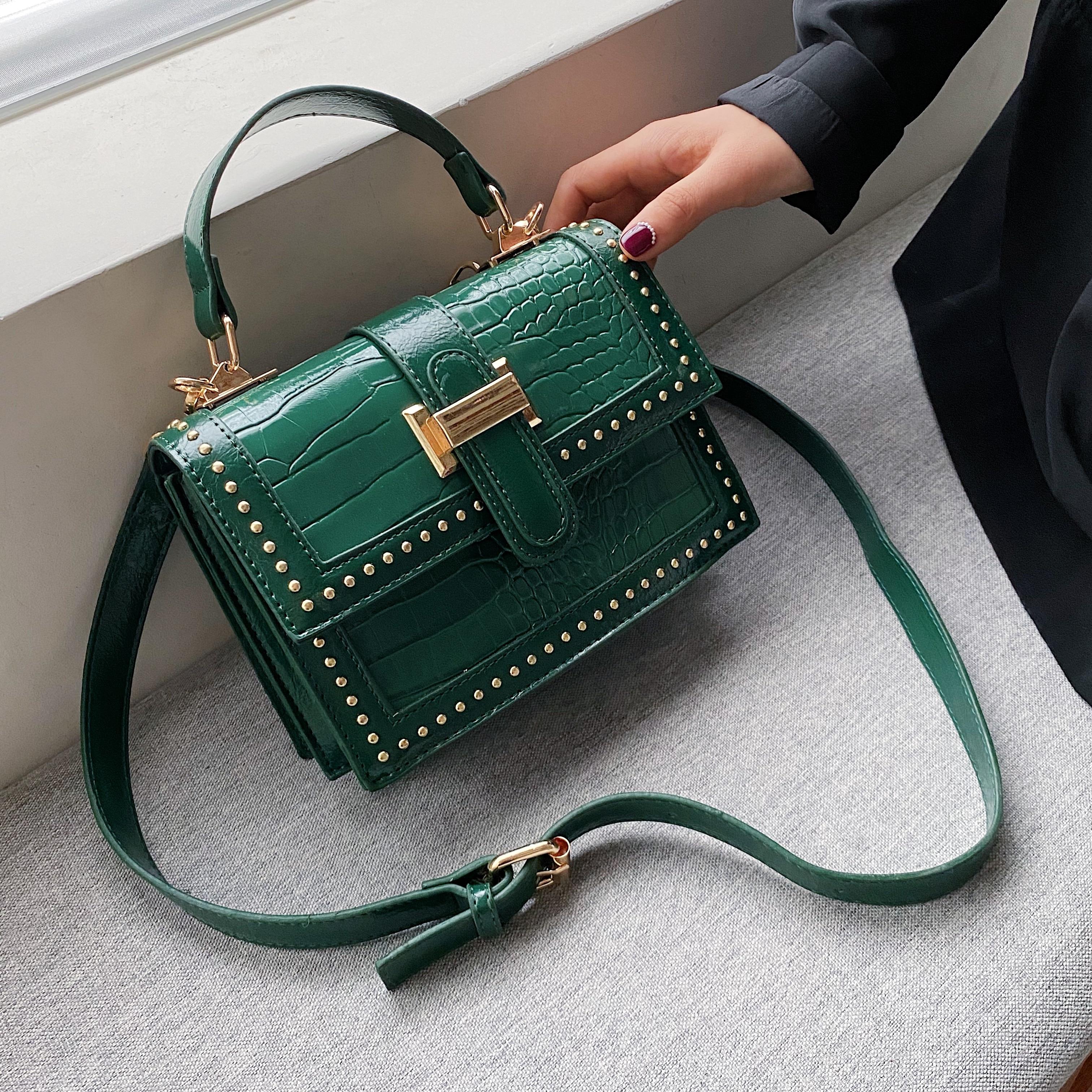 Green Rivets PU Leather Crossbody Bags For Women 2020 Fashion Brand Designer Luxury Handbag Shoulder Messenger Totes Bag Female
