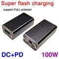 100 Вт супер вспышка Быстрая зарядка QC батарея USB Автомобильное зарядное устройство DC + PD до полного протокола pd + порт VOOC QC4 PD3 для ноутбука DC мо...