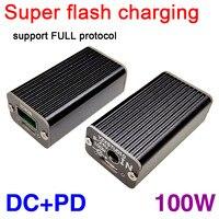 Carregador de carro super flash 100w  carregador usb qc para carro dc + pd para protocolo completo pd + porta vooc qc4 pd3 para notebook dc potência