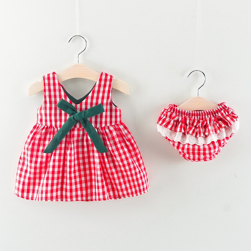 Newborn Baby Girls Clothes Sleeveless Floral Plaid Dress Briefs 2PCS Summer Outfits Set Pink, 3-6 Months