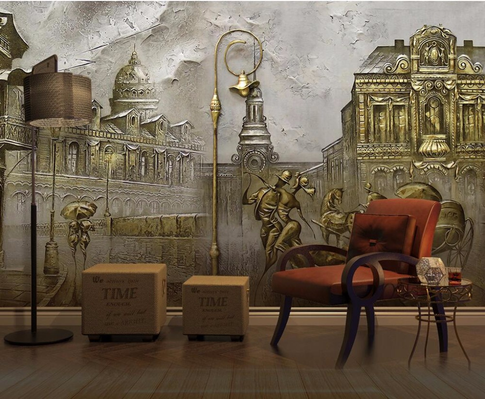 CJSIR Custom <font><b>Wallpaper</b></font> Murals European <font><b>3D</b></font> Emboss Retro <font><b>Car</b></font> Couple Street View TV Sofa Background Wall Painting <font><b>3d</b></font> <font><b>Wallpaper</b></font> image