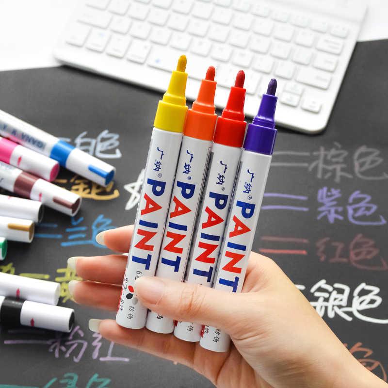 12 renk beyaz su geçirmez kauçuk kalıcı boyalı işaretleme kalemi araba lastik sırtı çevre lastik boyama Dropshipping