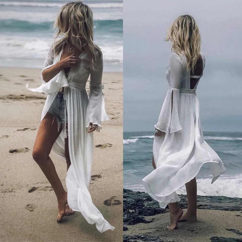 2020 Sexy Women Cover Ups Swimwear White Beach Slit Dresses Cotton Beach Kimono Coverups For Women Swimsuit Cover Up Beach Woman Aliexpress