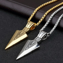 Stainless Steel Fashion Jewelry Sale 1PC Punk Striking Men's Vintage Alloy Spearhead Arrowhead Pendant Necklace for Men Chocker(China)