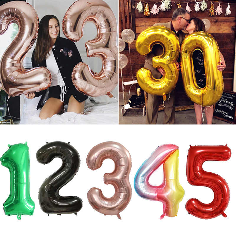 Big Foil Birthday Balloons Air Helium Number Balloon Happy Birthday Party Decorations Globos Gold Silver Black Kids Figures Ball